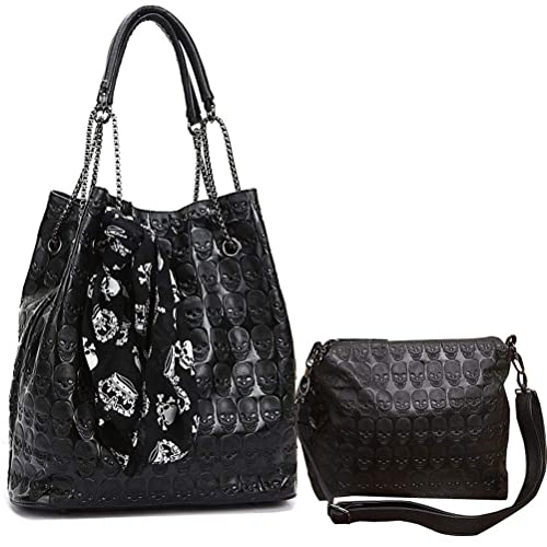 1f8fcb1faed1 Abuyall Womens Skull Print PU Leather 2 in 1 Hobo Tote Punk Shoulder  Crossbody Handbag Black