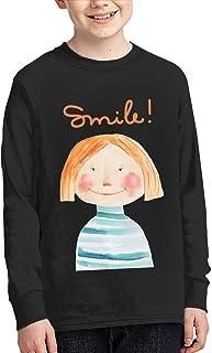 学生 男女兼用 ボーイズ 長袖 Tシャツ 女性 スマイル ロングスリーブ Oネック ティー シャツ Black