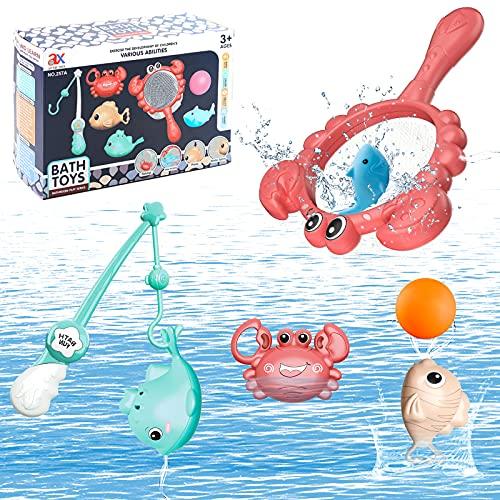 KAINSY Juguetes de Baño para, 7 pcs Juguetes Bañera Bebé Niños 1 2 3 4 5 años, Animal Juguetes para Bañera Piscina Agua para Bebé Niños Niñas