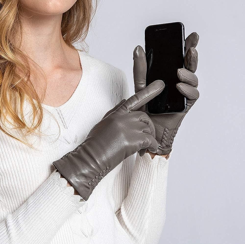 Winter Women Lady Feminine Cold leather Warm Nappa Lambskin Leather Gloves Fleece Lined