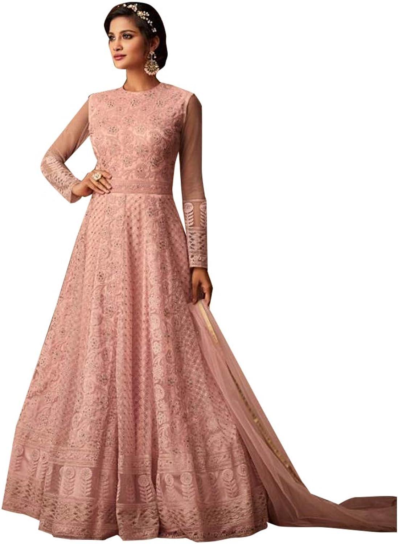 Designer Evening wear Net Anarkali Suit Heavy Embroidery Semistitched Indian Ethnic Women Bespoke 7784