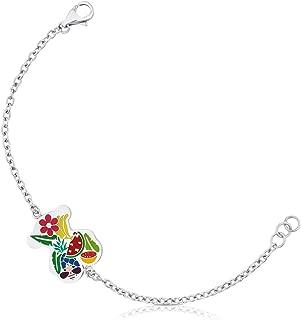 Pulsera cadena de Mujer en acero inoxidable con motifo con esmalte multicolor