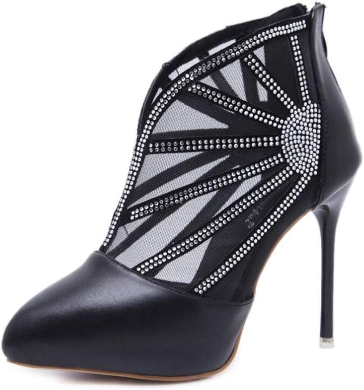 Shiney Women's Booties 2018 New Pointed Pierced Rhinestones Stiletto Heels High Heels