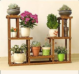 FJFSC Solid Wood Balcony Flower Rack Living Room Landing Flower Shelf Plant Frame Flower Pot Shelf Display Stand (Color : A)