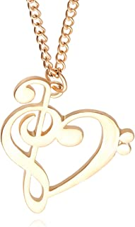Music Note Symbol : Heart of Treble and Bass Clefs Pendant Necklace - Stainless Steel