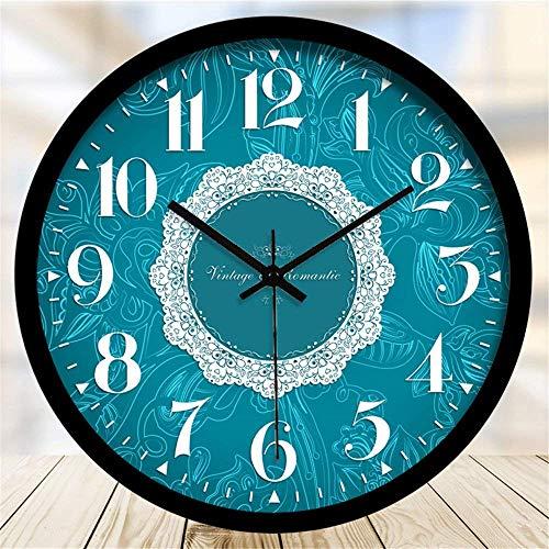 Yongenee Reloj de pared elegante y creativo azul mudo 12 pulgadas, caja negra B (color -, tamaño: -) se utiliza en sala de estar, dormitorio, oficina, escuela