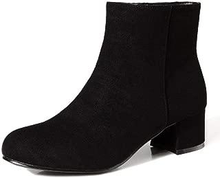 Women's Round Toe Faux Suede Short Boots Block Low Heel Side Zipper Ankle Booties