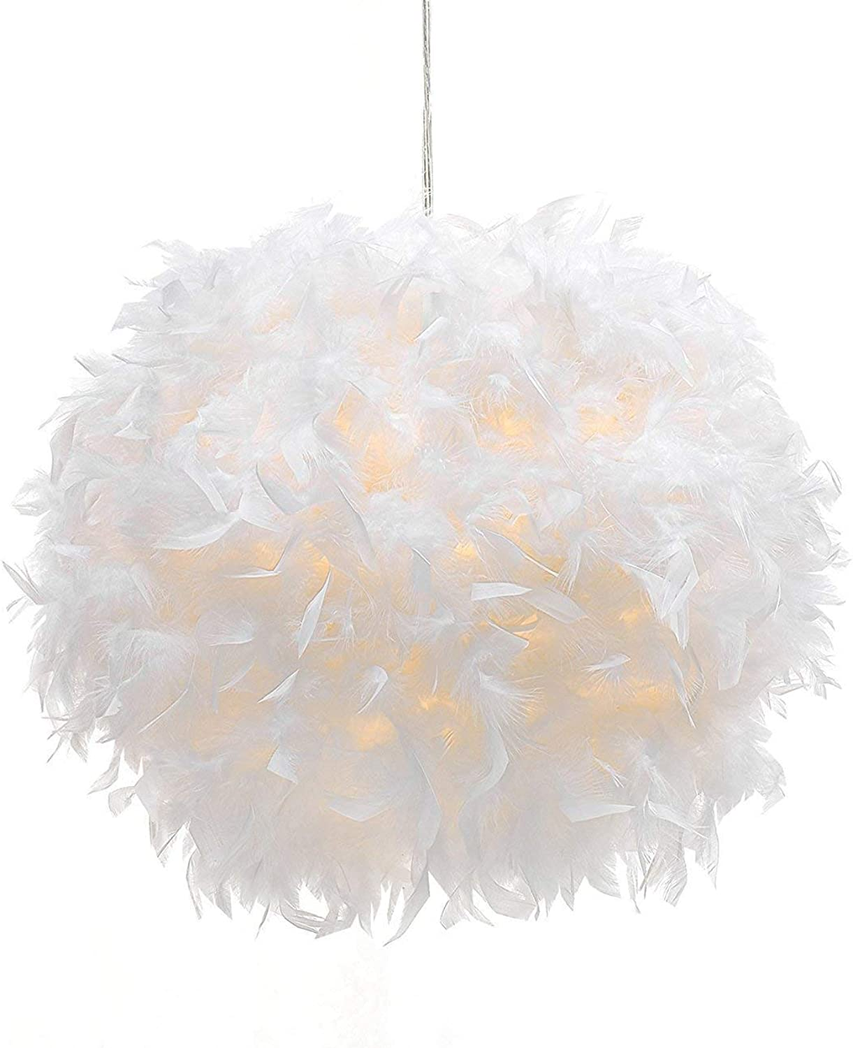 Waneway White Feather Ceiling Pendant Light Shade, Non-Electrical Lampshade for Floor Lamp and Table Lamp with Shade Reducing Ring for Living Room, Dining Room, and Bedroom, 15.7 inches