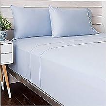 Livingston Home 9178LNE-3T-BL-F Solid Satin TC-300 Cotton Full Sheet Set,Blue,