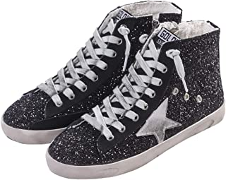 Adult Women's Flat High Top Glitter Fashion Sneakers Lace up Casual Fashion Star Shoes