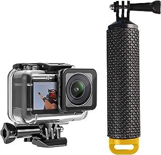Owoda Funda Impermeable + Manija de Agarre Flotante Manija de Buceo Submarino Carcasa Protectora Shell Stick Monopod para dji OSMO Action cámaras (Amarillo)