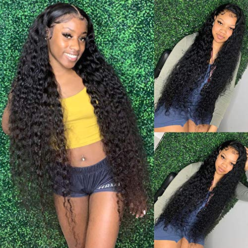 """30Inch-12A Long Length Transparent Lace-Front-Wigs Human-Hair 13X4 Water Wave Wigs Invisible Brazilian Virgin Human Hair Wigs Bleached Knots Pre Plucked With Baby Hair (180% Water wave HD 30"""")"""