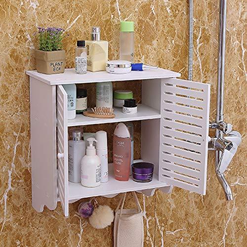 Armario de pared para baño, resistente al agua, 2 estantes