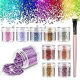 RenFox Glitter Cosmetici, Chunky Festival Glitter con Hexagons Glitter Paillette per Capel...