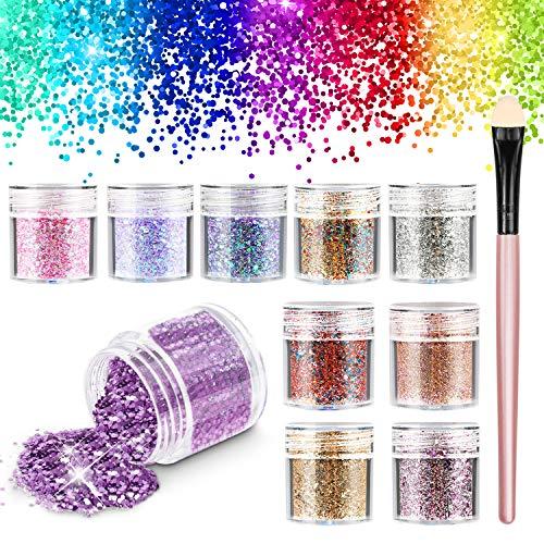 Glitter Make Up, Glitzer Gesicht Körper Chunky Glitter Festival Make Up Glitzer & Nail Pulver Pailletten & Sechsecke Mischfarben für Party(10PCS)