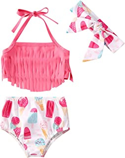 LXXIASHI 2PCS Newborn Infant Baby Girl Tassels Halter Top + Floral Bottom Swimsuits Set Bikini Bathing Suit