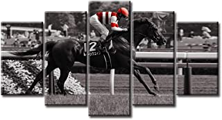 Horse Racing Painting Canvas Wall Art Decor Kentucky Derby Race Horse Rider Sport Jockeys Derby Competition Recreation Track Bet Win Photo Picture Modern Artwork for Home Living Room Decorations