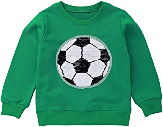 Girls Boys Children Magic Sequin Sweatshirt Cotton Pullover Top, Long Sleeve Kid's T-Shirts for Autumn and Winter