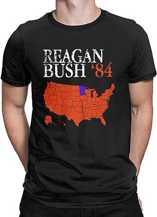 CHAMPRINT Vintage Style Distressed Reagan Bush '84 T-Shirt Retro Logo Ronald George 1984 Tees Tops for Men