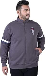JOHN PRIDE Men's Plus Size Mock Collar Grey Front-Open Sweatshirt