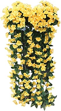 Momola Fleurs suspendues Artificielle Fleur Violette Mur Wisteria Panier Suspendu Guirlande Fleurs De Vigne Faux Orchidée en