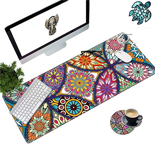 Desk Mat Pad on Top Large XL Gaming Mouse Pad for Laptop Mandala Floral Desk Mat 31.5'×11.8'×0.12' Big Extended Desktop Pad Accessories for Home Office Table + Cup Coaster & Cute Stickers