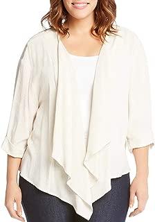 Women's Plus Size Open Front Roll Sleeve Drape Jacket