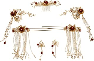 gazechimp かんざし 簪 花嫁 ヘアークリップ 中華風 コーム 髪飾りドレス 浴衣 結婚式 成人式 お祭り ピアス付き