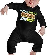 RuiPeng Baby O-Neck Long Sleeve Climbing Clothes Subway Logo Funny Crawling Suit Black
