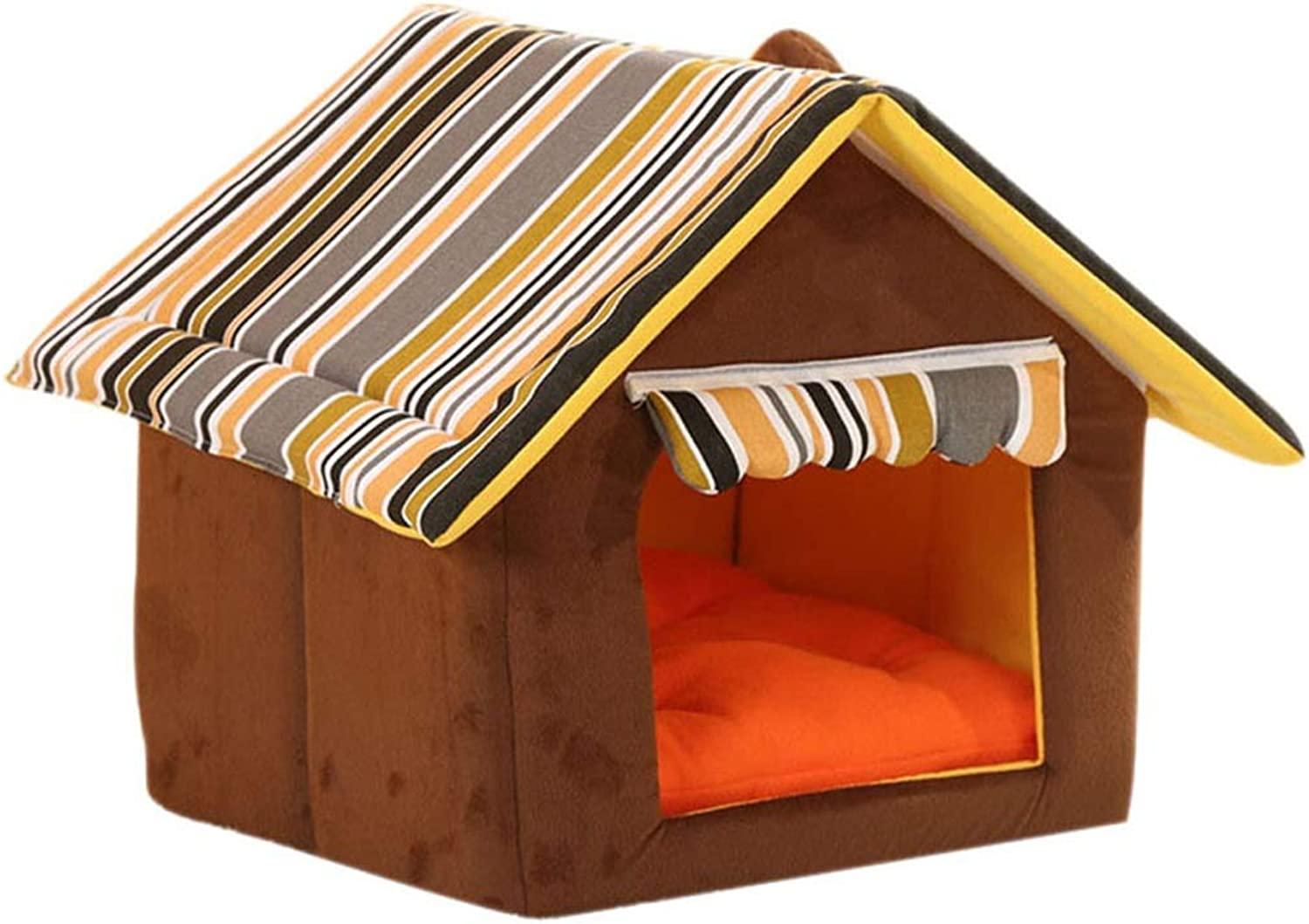 Kennel, Dog House Small Medium Dog Pet Nest Mat Cat Litter Winter Washable Dog Bed Room Five colors Optional (color   Brown, Size   S)