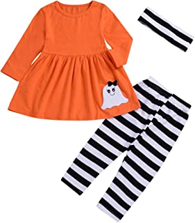 1-5 Years Toddler Baby Kids Girls Clothes Orange Dresses and Striped Pants Winter Outfits Set