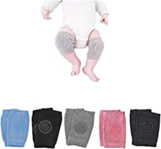 Baby Crawling Anti Slip Knee Pads Unisex Toddler Leg Warmer Safety Protective Cover, Toddlers Learn to Crawl Socks Children Short Kneepads (5 Pairs)