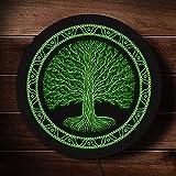 25cm Druidic Yggdrasil Árbol de la vida LED redondeado Letrero de neón Logotipo de estilo celta Mitología gótica Arte de pared minimalista Iluminación Decoración Lámpara 7 colores Cambiables Regalo