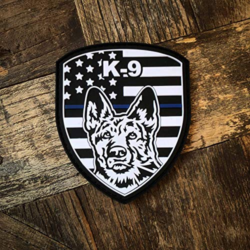 NEO Tactical Gear K-9 Thin Blue Line PVC Rubber Morale Patch - Blue Lives Matter - Hook Backed