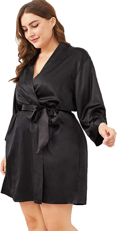 SOLY HUX Women's Plus Size Belted Satin Kimono Bridesmaids Robe Sleepwear