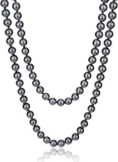 Women's White Gray Simulated Pearl (8mm) Strands Necklace, Long Pearl Necklace, 1920s Retro Flapper Necklace, 60 Inches