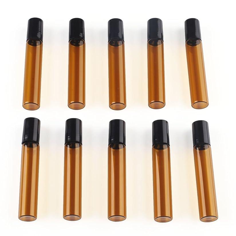 汚いスペア石油SAGULU アロマオイル 精油 小分け用 遮光瓶 遮光ビン ミニガラスアロマボトル エッセンシャルオイル用容器 スチールボールタイプ 5ml、10ml選択可能 アンバー 10本セット (10ml)