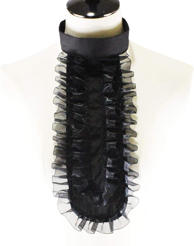 YOUSIKE Ruffled Jabot, Men Women Detachable Fake Collar Victorian Pirate Colonial Ruffled Jabot Steampunk Renaissance Shirt Front Necktie Cosplay Costume Accessory
