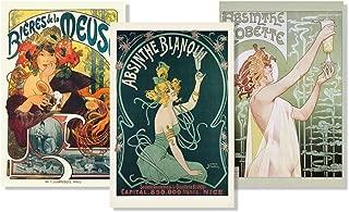 Set of 3 Art Nouveau Absinthe Biere Liquor Drinking Collection Vintage Ad Posters Set Bundle 24x36 inch
