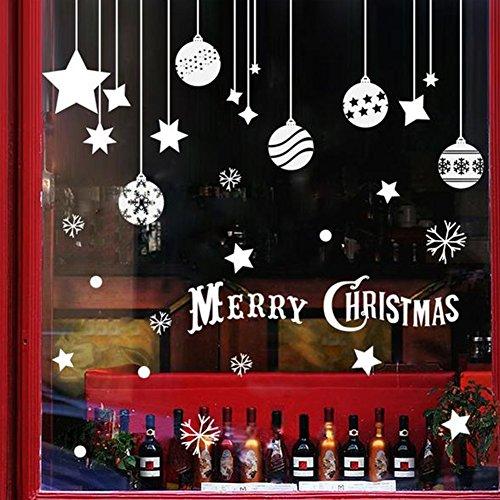 EXTSUD 2 Stück Weihnachtssticker Merry Christmas Schaufensterdekoration Wandaufkleber Fenster Aufkleber Engel Bälle und Sterne Glasaufkleber Weihnachten Xmas Vinyl Fensterbilder Dekoration (Bälle)