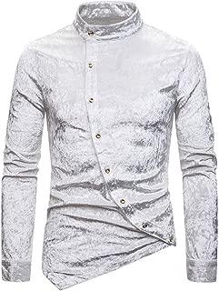 Cromoncent Men Casual Autumn Plaid Long Sleeve Velvet Button Down Shirts