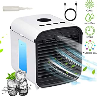 Nifogo Aire Acondicionado Portátil - Air Cooler Humidificador, 3 in 1 Aire Acondicionado, Humidificador, con Mango Oficina Ventilador, 7 Luces LED (B-Blanco)
