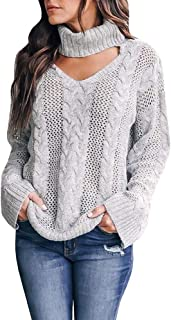 f267ee775fb Womens Plus Size Sexy V Neck Sweaters Turtleneck Choker Tops Oversized Cable  Knit Chunky Pullover