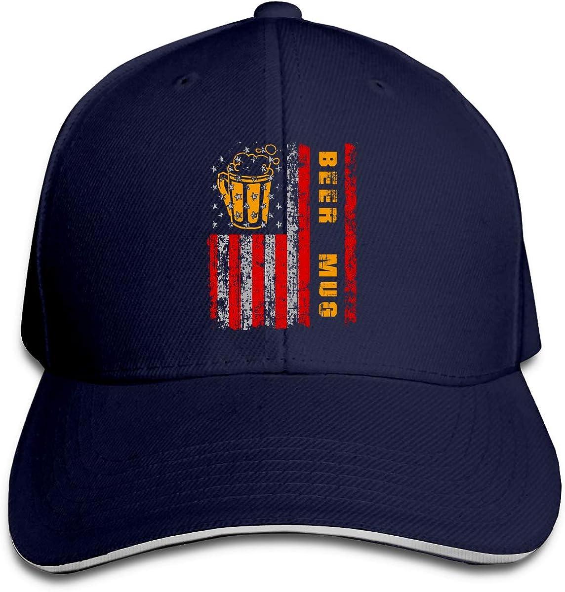 GFGS LKKG Beer Mug American Flag Unisex Hats Trucker Hats Dad Baseball Hats Driver Cap