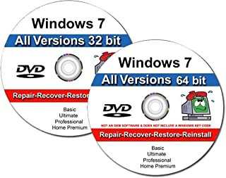 9th & Vine 2 DVDs Compatible With Windows 7 32-64 bit All Versions Professional, Home Premium, Ultimate, Basic. Install To Factory Fresh, Recover, Repair and Restore Boot Disc. Fix PC