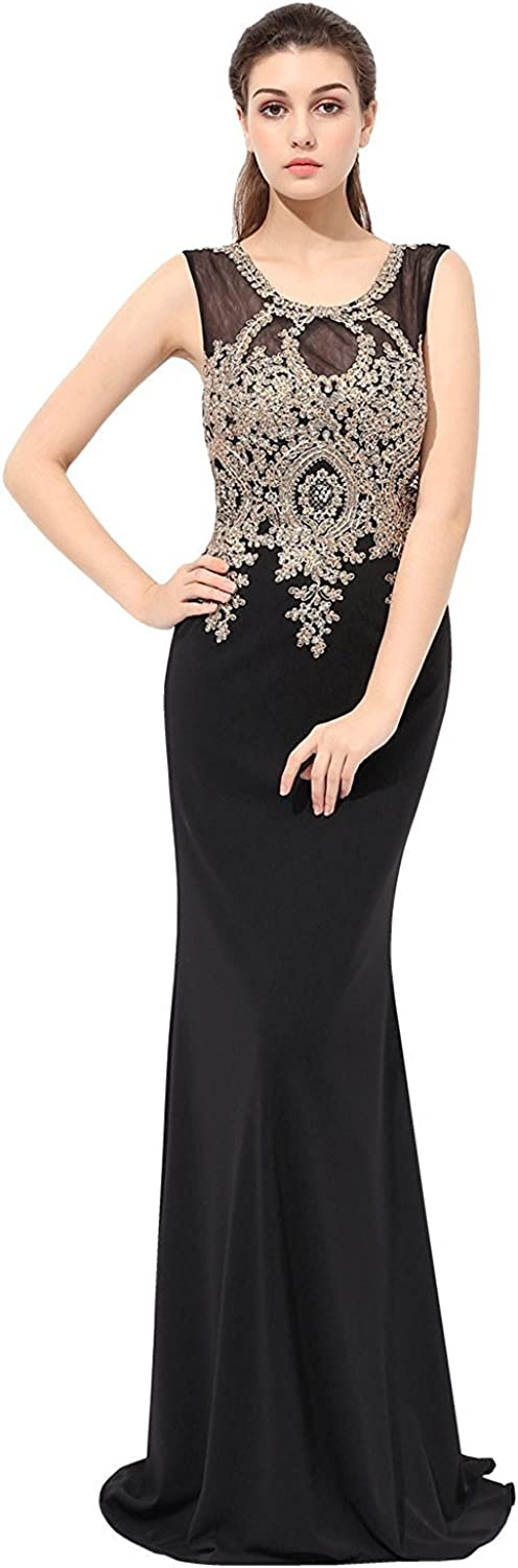 Sarahbridal Women's Mermaid Prom Dresses Long 2019 gold Lace Applique Evening Gowns
