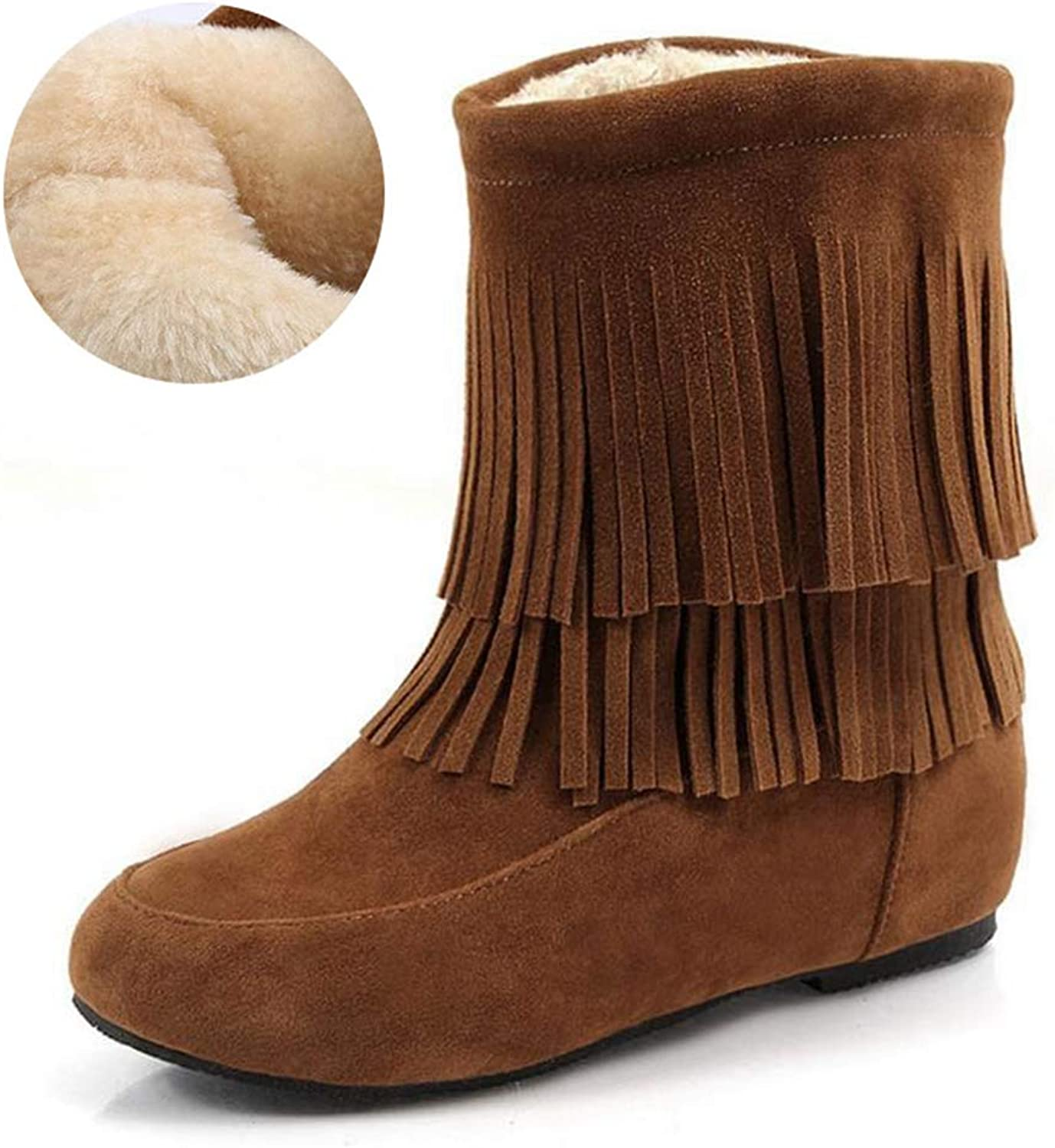 T-JULY Snow Boots for Women Winter Plush Flats Fringes Mid Calf Inside Fur Round Toe shoes Party shoes