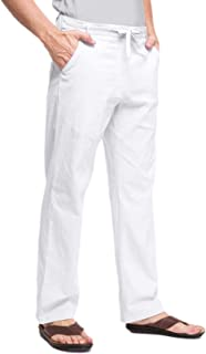 Janmid Men's Linen Pants Casual Elastic Waist Drawstring Yoga Beach Trousers