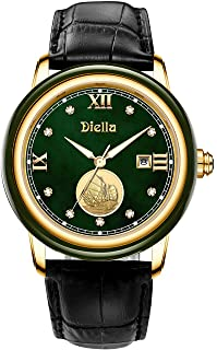 Diella Quartz Watches for Men with Black Leather Strap, Waterproof Men's Analog Wrist Watch, Cyan Jade Dial with Gold Stee...