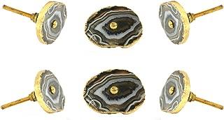 Set of 6 Barbarella Agate with Brass Hardware Brown Drawer Knob Cabinet Cupboard Pull by Trinca-Ferro